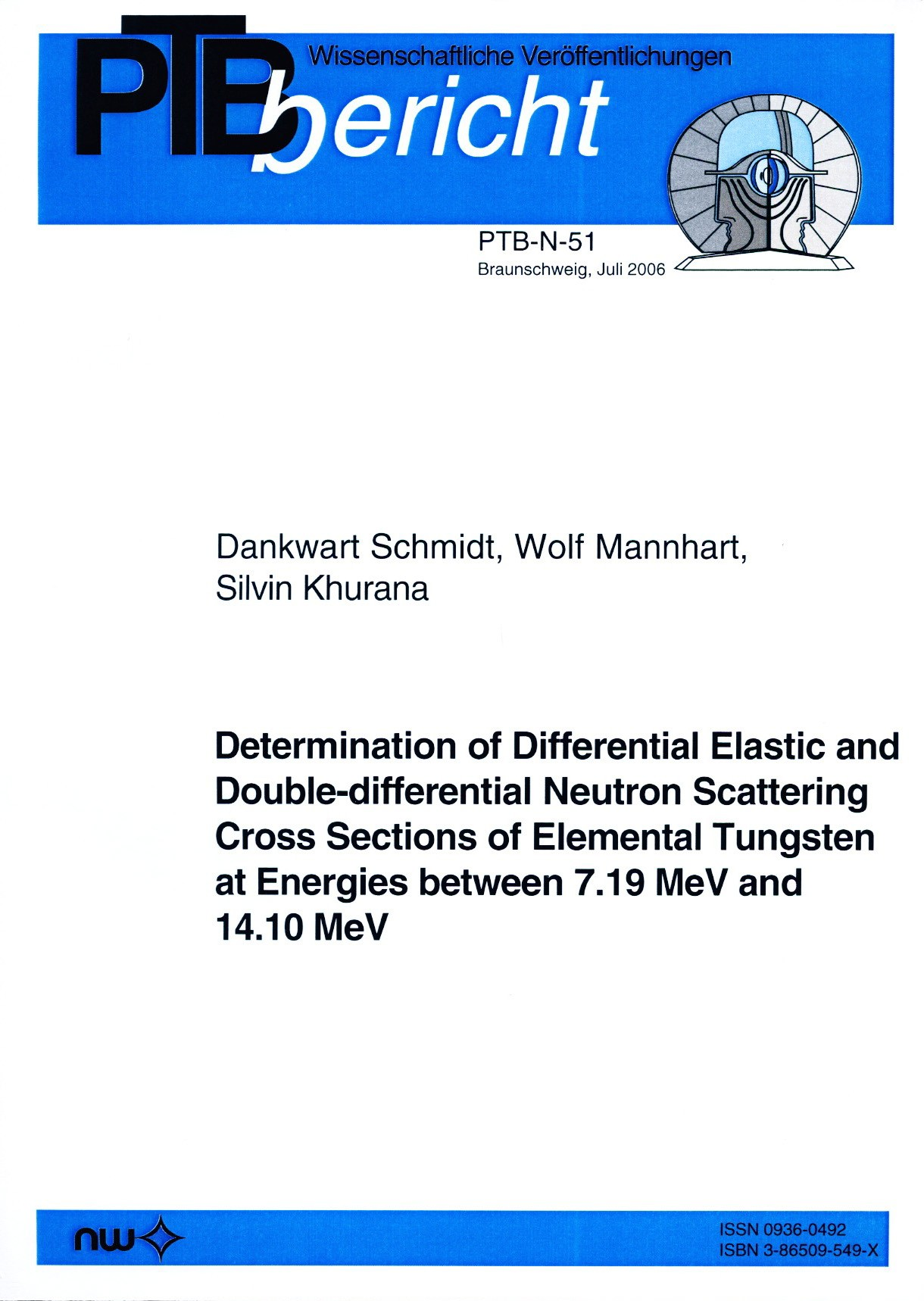 Determination of Differential Elastic and Double-differential Neutron Scattering Cross Sections of Elemental Tungsten at Energies between 7.19 MeV and 14.10 MeV