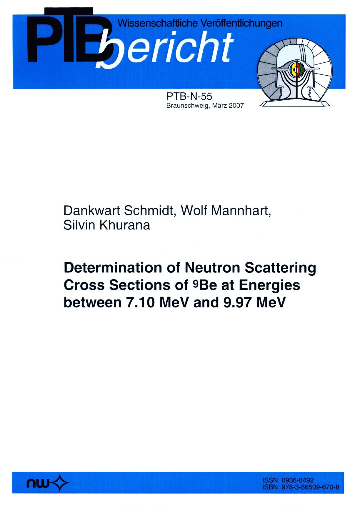 Determination of Neutron Scattering Cross Sections of 9Be at Energies between 7.10 MeV and 9.97 MeV